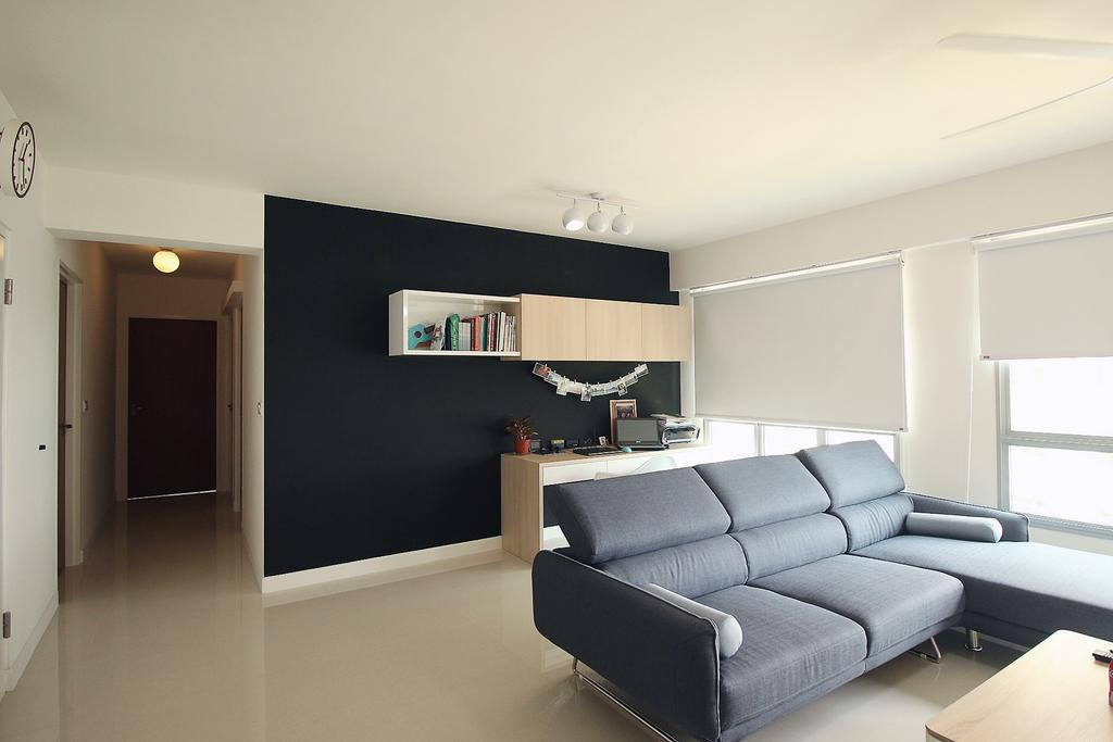 Scandinavian, HDB, Living Room, Fajar Road (Blk 443B), Interior Designer, ChanInteriors, Couch, Furniture, Indoors, Interior Design, Shelf, White Board