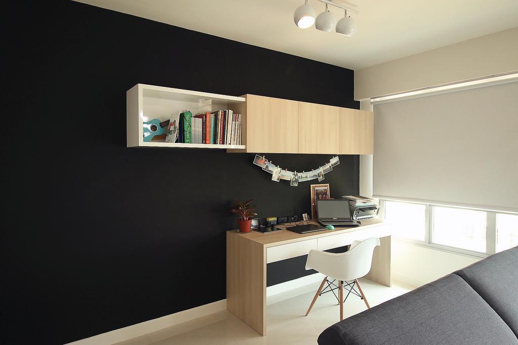 Scandinavian, HDB, Study, Fajar Road (Blk 443B), Interior Designer, ChanInteriors, Shelf, Dining Room, Indoors, Interior Design, Room