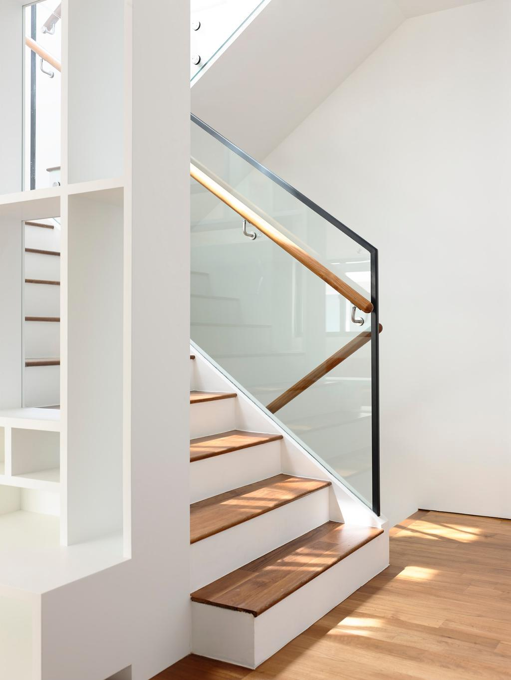 Contemporary, Landed, Bowmont Gardens, Architect, HYLA Architects, Banister, Handrail, Staircase, Shelf