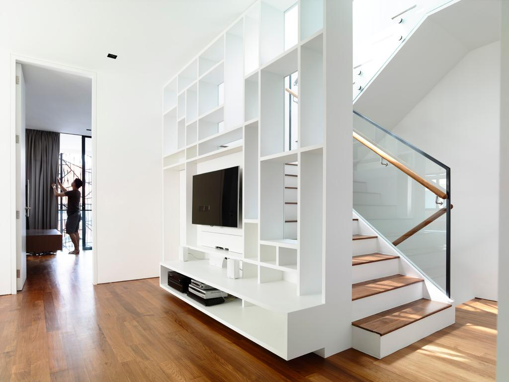 Contemporary, Landed, Living Room, Bowmont Gardens, Architect, HYLA Architects, Banister, Handrail, Staircase, Door, Sliding Door, Indoors, Interior Design, Electronics, Entertainment Center