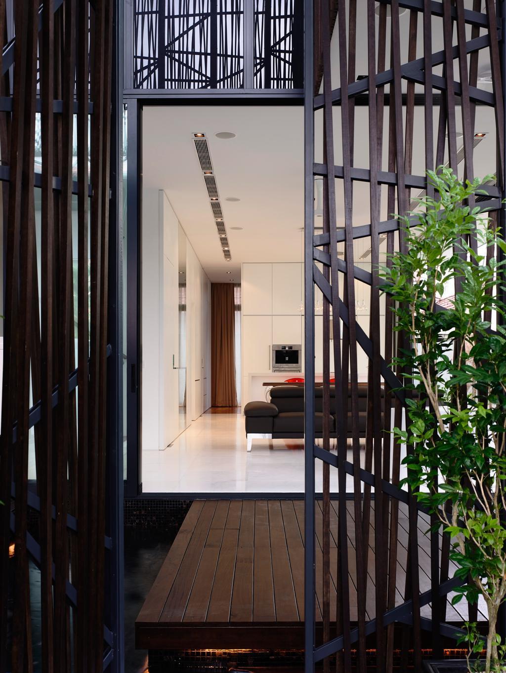 Contemporary, Landed, Bowmont Gardens, Architect, HYLA Architects, Door, Folding Door, Flora, Plant, Vine, Prison, Corridor