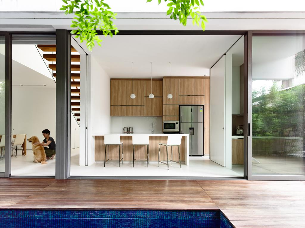 Contemporary, Landed, Kitchen, Eng Kong Gardens, Architect, HYLA Architects, Building, House, Housing, Villa, Door, Sliding Door, Furniture, Sideboard, Flora, Herbs, Jar, Parsley, Plant, Planter, Potted Plant, Pottery, Vase