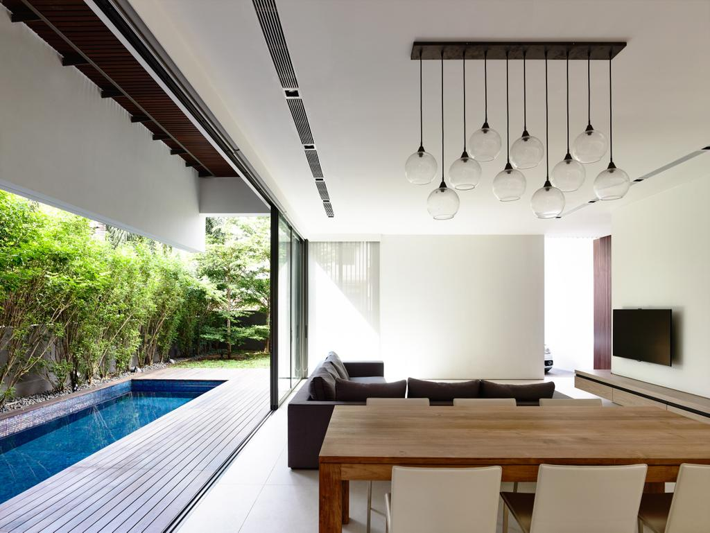 Contemporary, Landed, Dining Room, Eng Kong Gardens, Architect, HYLA Architects, Pool, Water, Dining Table, Furniture, Table