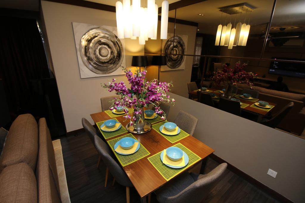 Modern, Condo, City Garden, Bukit Bintang, Interior Designer, EA Alam Reka, Eclectic, Furniture, Tabletop, Dining Room, Indoors, Interior Design, Room, Couch