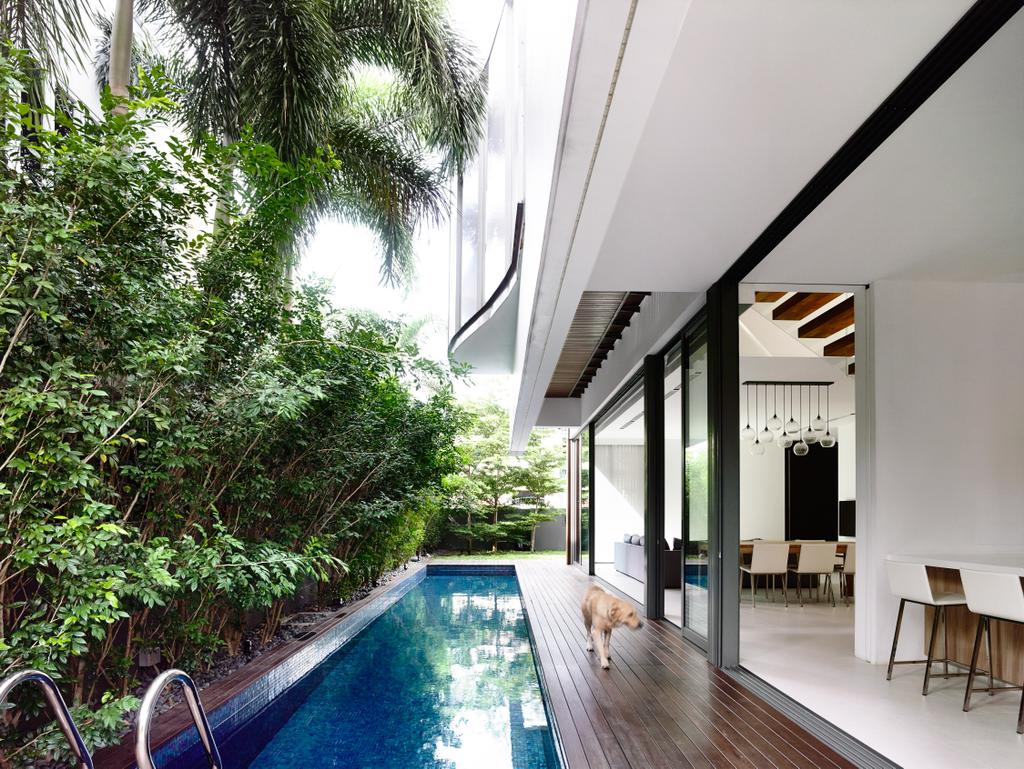 Contemporary, Landed, Balcony, Eng Kong Gardens, Architect, HYLA Architects, Flora, Jar, Plant, Potted Plant, Pottery, Vase, Dining Table, Furniture, Table, Pool, Water, Building, House, Housing, Villa, Backyard, Outdoors, Yard