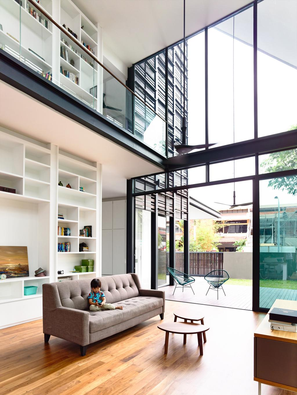 Contemporary, Landed, Living Room, Faber Terrace, Architect, HYLA Architects, HDB, Building, Housing, Indoors, Loft, Banister, Handrail, Staircase