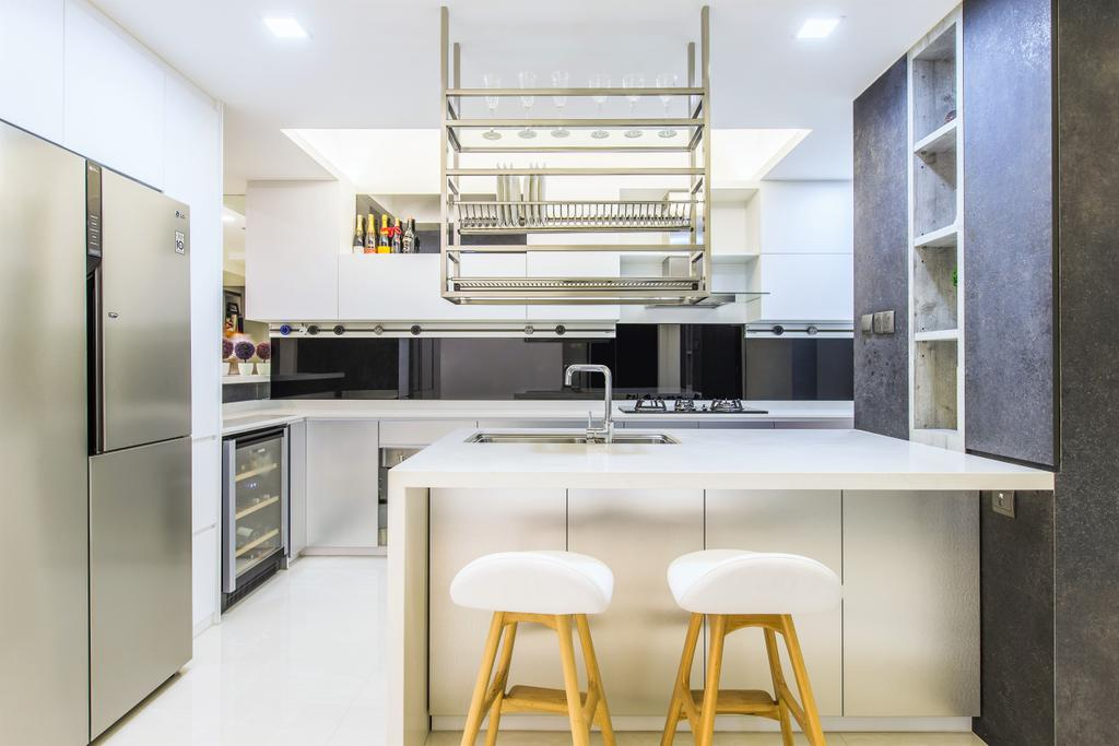 Modern, Landed, Kitchen, Goldhill View, Interior Designer, Summerhaus D'zign, Bar Stool, Furniture, HDB, Building, Housing, Indoors, Loft, Chair, Interior Design, Room