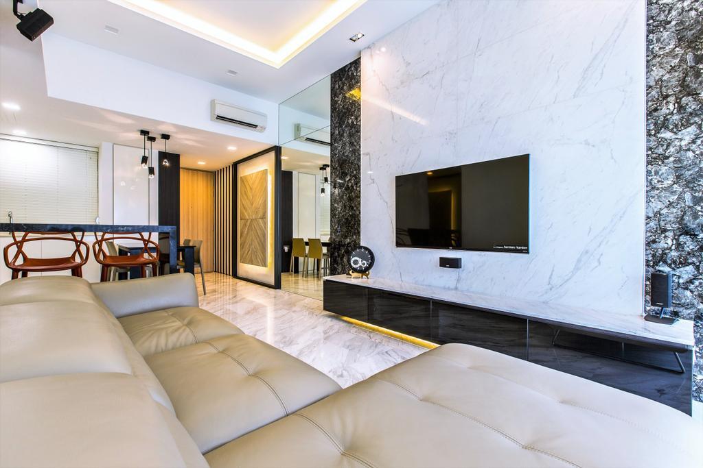 Modern, Condo, Living Room, The Sorrento, Interior Designer, Summerhaus D'zign, Indoors, Interior Design, Couch, Furniture