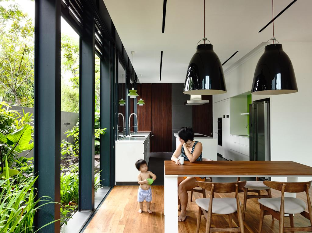 Contemporary, Landed, Dining Room, Faber Terrace, Architect, HYLA Architects, Dining Table, Furniture, Table, Human, People, Person, Flora, Jar, Plant, Potted Plant, Pottery, Vase, Bamboo, Lighting