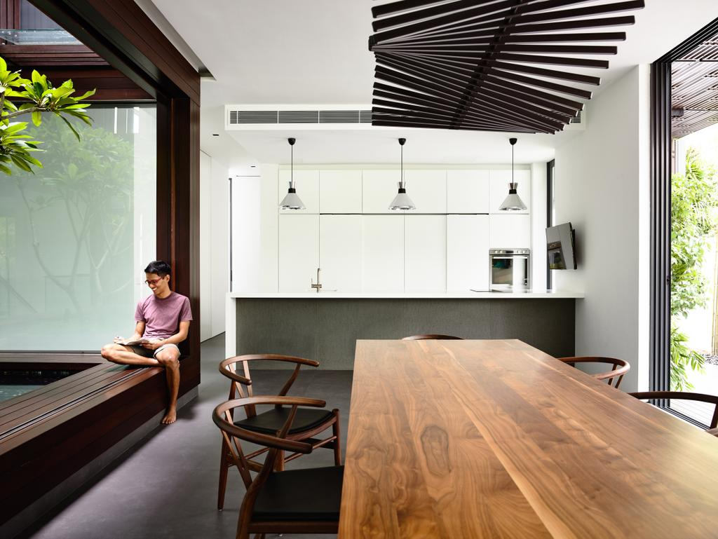 Contemporary, Landed, Dining Room, Greenbank Park, Architect, HYLA Architects, Human, People, Person, Dining Table, Furniture, Table, Plywood, Wood, Sitting, Indoors, Interior Design, Room, Flora, Jar, Plant, Potted Plant, Pottery, Vase, Bar Stool