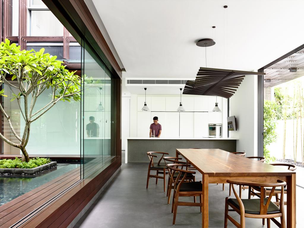 Contemporary, Landed, Kitchen, Greenbank Park, Architect, HYLA Architects, Dining Table, Furniture, Table, Flora, Jar, Plant, Potted Plant, Pottery, Vase, Gutter, Dining Room, Indoors, Interior Design, Room