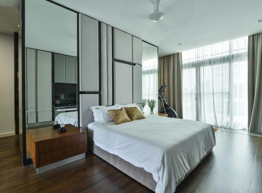 Modern, Landed, Bedroom, Lake Field, Sungai Besi, Interior Designer, SQFT Space Design Management, Contemporary, Bed, Furniture, Hardwood, Wood