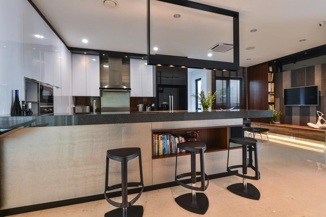 Lake Field, Sungai Besi, SQFT Space Design Management, Modern, Contemporary, Kitchen, Landed, Bar Counter, Kitchen Island, Kitchen Peninsula, Black And White, Monochrome, Open Concept, Open Kitchen, Bar Stool, Furniture, Dining Table, Table, Apartment, Building, Housing, Indoors, Loft
