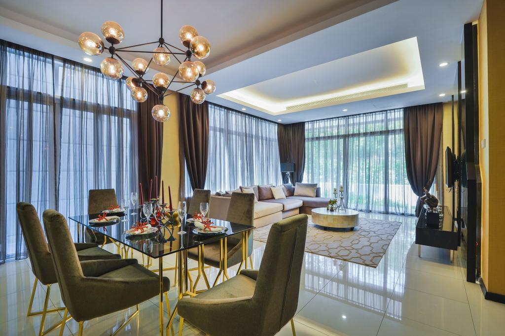 Modern, Landed, Dining Room, The Mews, Putra Heights, Interior Designer, SQFT Space Design Management, Contemporary, Chair, Furniture, Indoors, Interior Design, Room