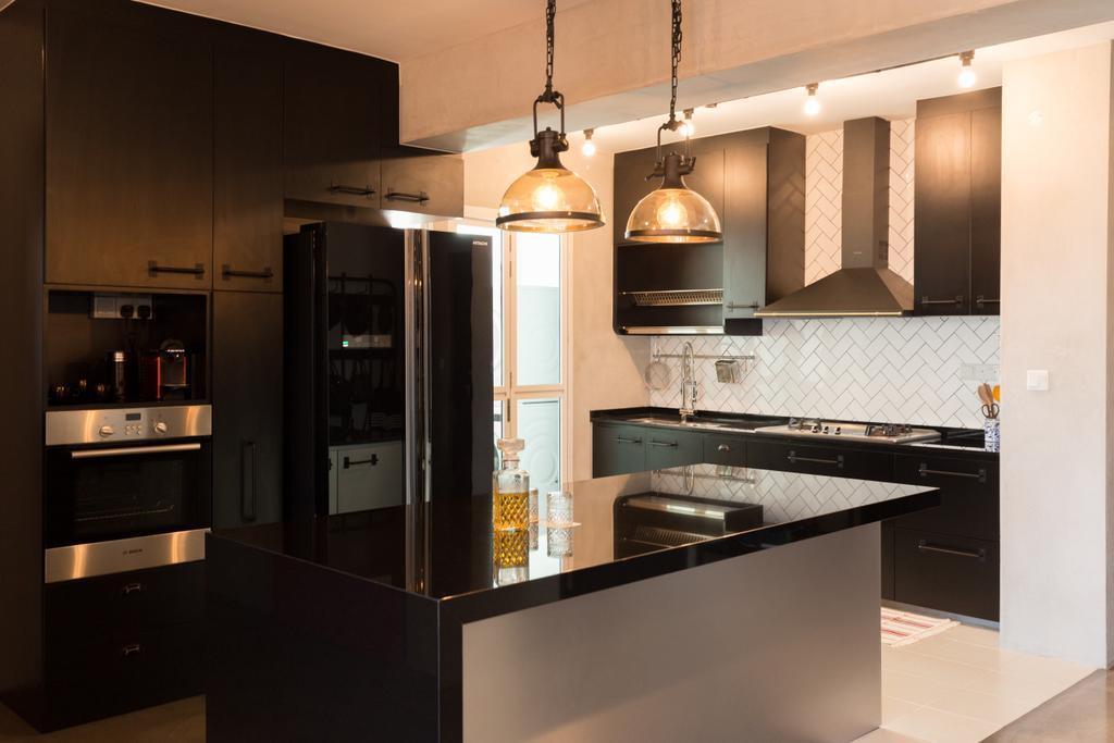 Industrial, HDB, Kitchen, McNair Road, Interior Designer, Dap Atelier, Indoors, Interior Design, Room, Appliance, Electrical Device, Fridge, Refrigerator