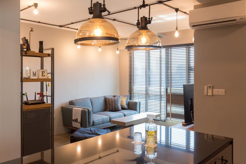 Industrial, HDB, Living Room, McNair Road, Interior Designer, Dap Atelier, Couch, Furniture, Shelf, Dining Room, Indoors, Interior Design, Room