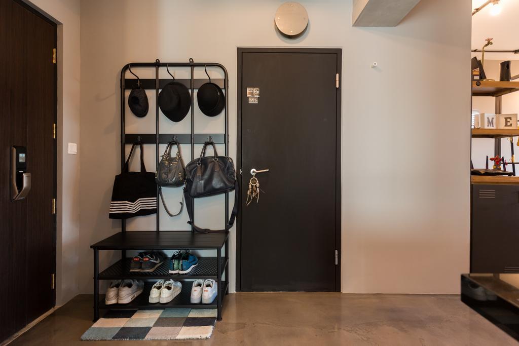 Industrial, HDB, Living Room, McNair Road, Interior Designer, Dap Atelier, Accessories, Bag, Handbag, Purse, Building, Housing, Indoors