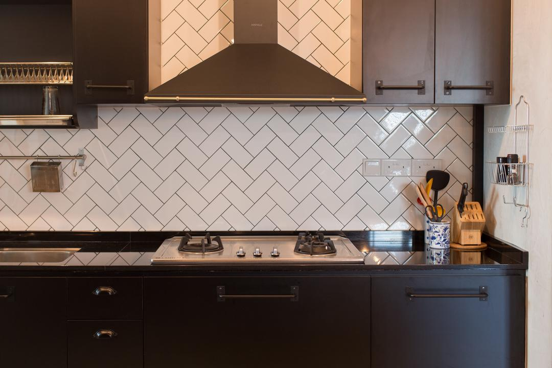 McNair Road, Dap Atelier, Industrial, Kitchen, HDB, Subway Tiles, Subway, Tiles, Herringbone, Chevron, Tile Grout, Black Grout, Graphic Wall, Black And White, Indoors, Interior Design, Room, Triangle