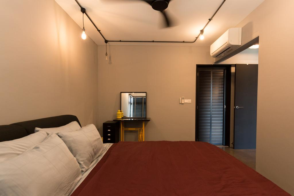Industrial, HDB, Bedroom, McNair Road, Interior Designer, Dap Atelier, Indoors, Room, Bed, Furniture, Interior Design