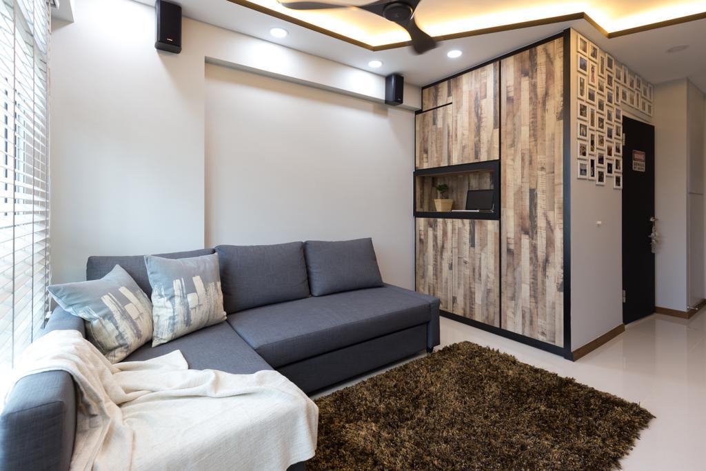 Industrial, HDB, Canberra Street, Interior Designer, Chapter One Interior Design, Couch, Furniture
