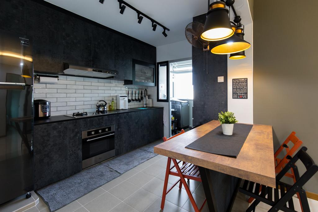 Industrial, HDB, Kitchen, Canberra Street, Interior Designer, Chapter One Interior Design, Dining Table, Furniture, Table, Dining Room, Indoors, Interior Design, Room, Chair, Lighting, Plywood, Wood