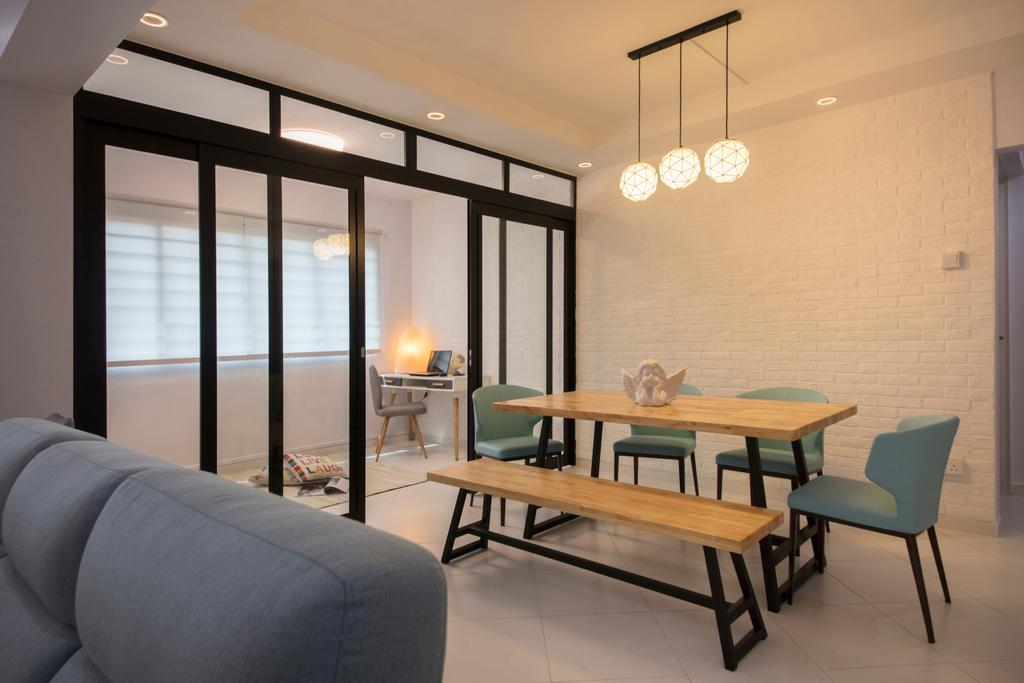Contemporary, HDB, Dining Room, Tampines Avenue 9, Interior Designer, Boon Siew D'sign, Chair, Furniture, Dining Table, Table, Couch