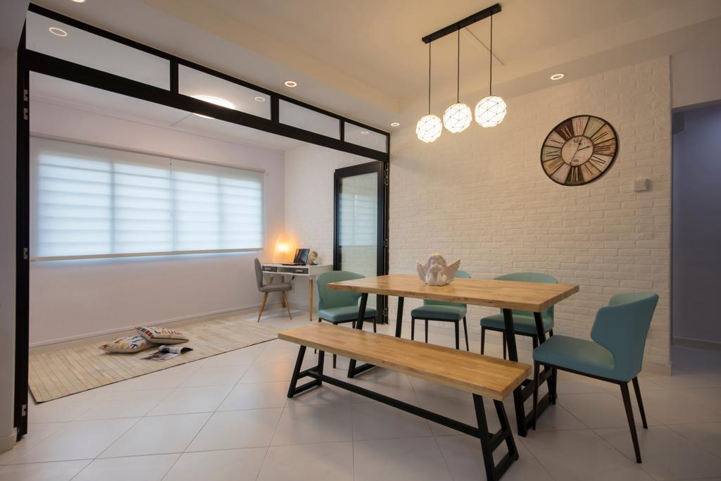 Contemporary, HDB, Dining Room, Tampines Avenue 9, Interior Designer, Boon Siew D'sign, Chair, Furniture, Dining Table, Table, Indoors, Interior Design, Room, Building, Housing, Loft