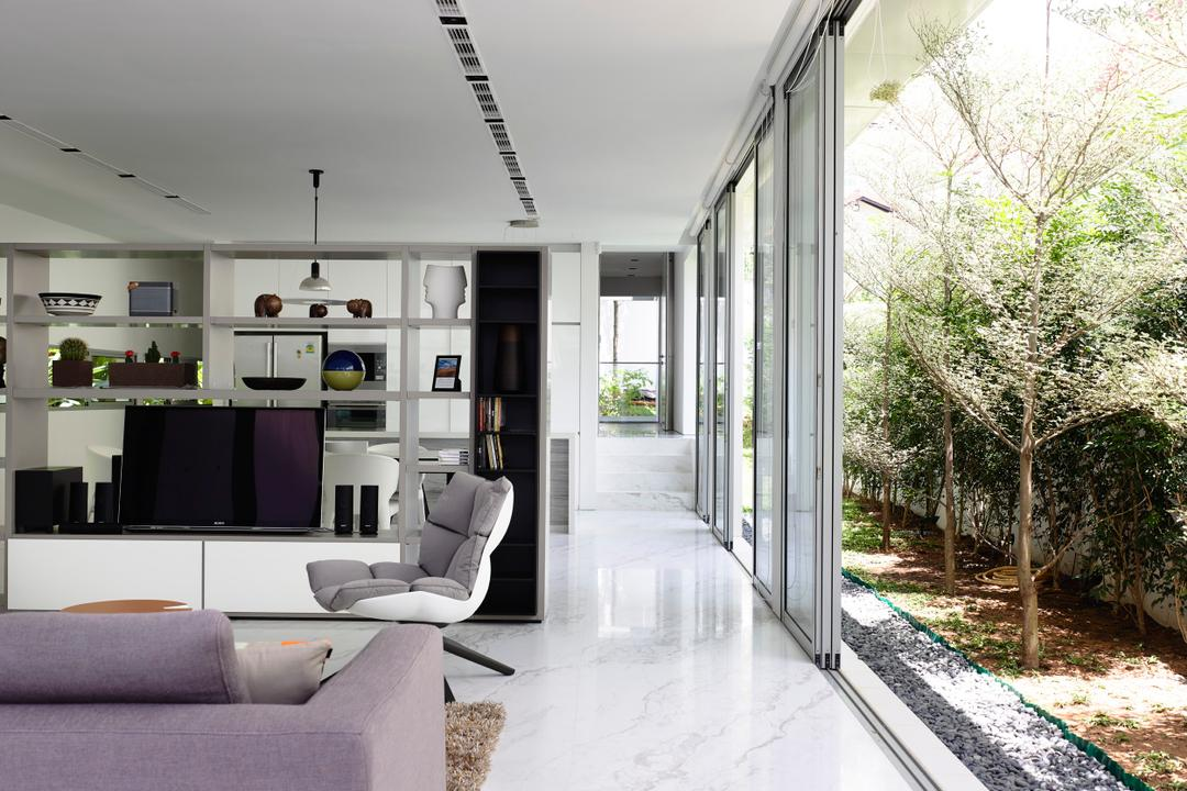 Jalan Angin Laut, HYLA Architects, Modern, Living Room, Landed, Furniture, Indoors, Interior Design, Car Seat