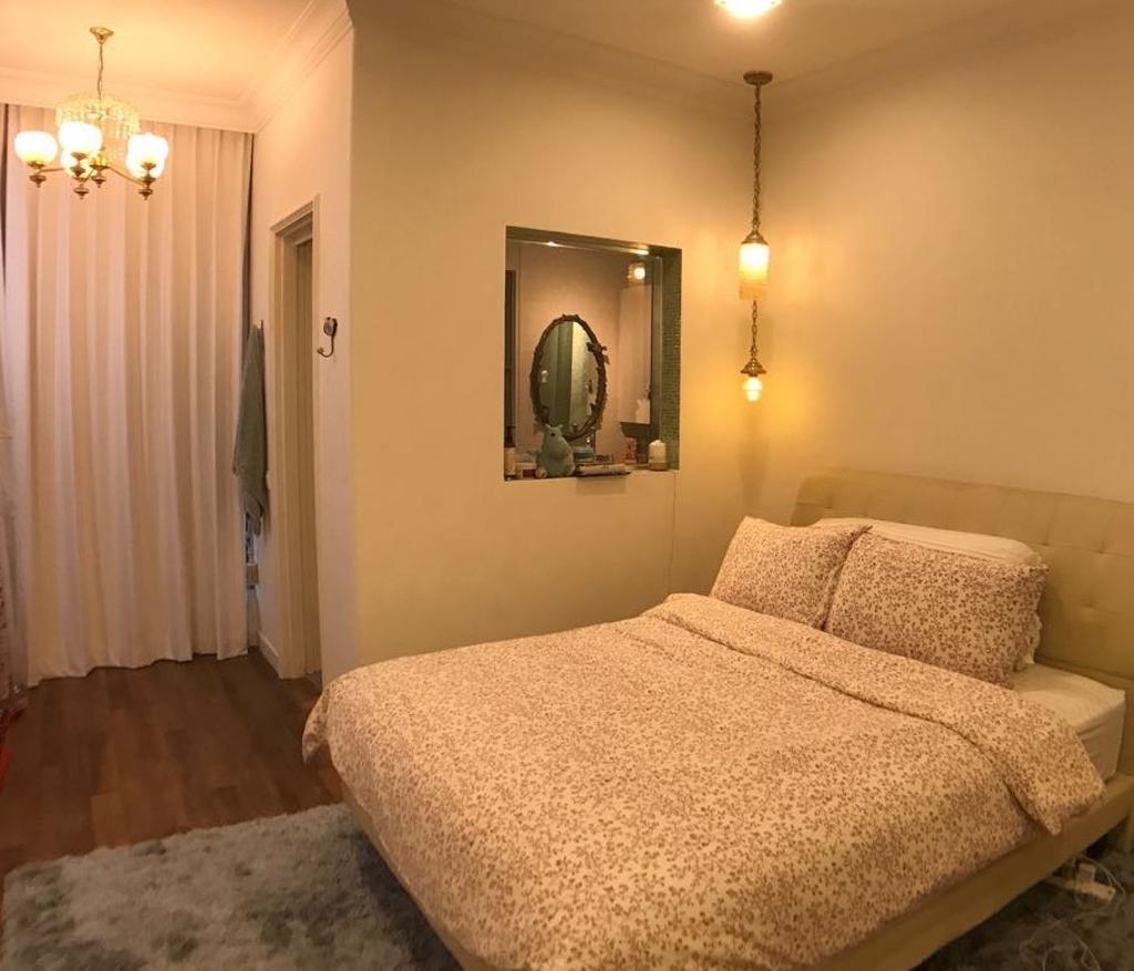 Vintage, Condo, Bedroom, Serenity Park, Interior Designer, ISH Interior Design, Mirror, Indoors, Interior Design, Room