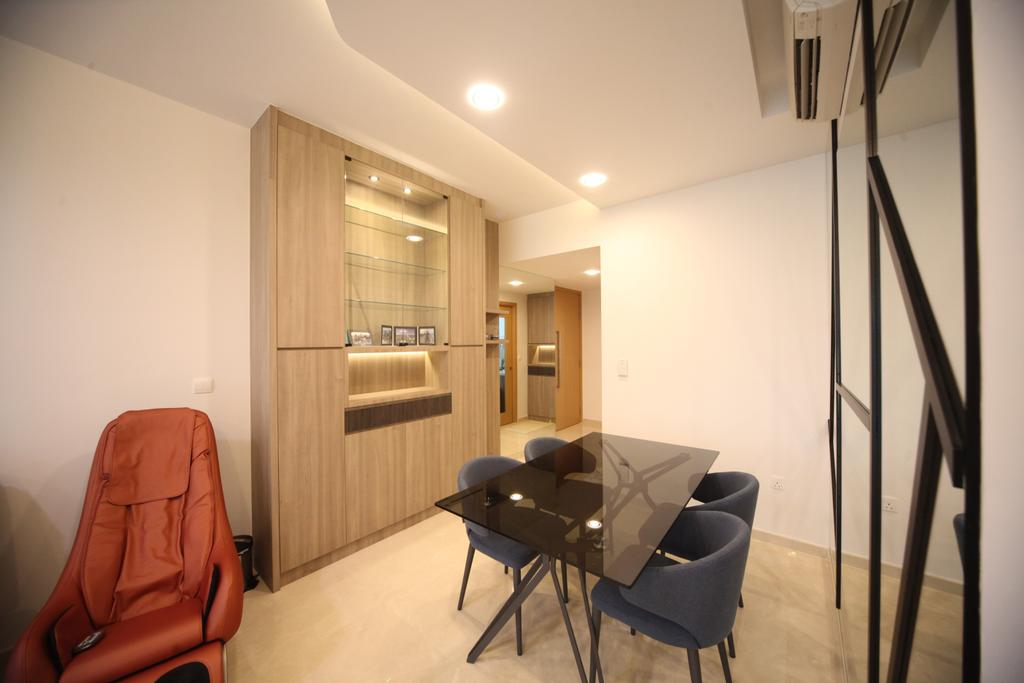 Modern, Condo, Dining Room, The Glades, Interior Designer, Interior Diary, Dining Table, Furniture, Table, Chair, HDB, Building, Housing, Indoors, Railing, Room