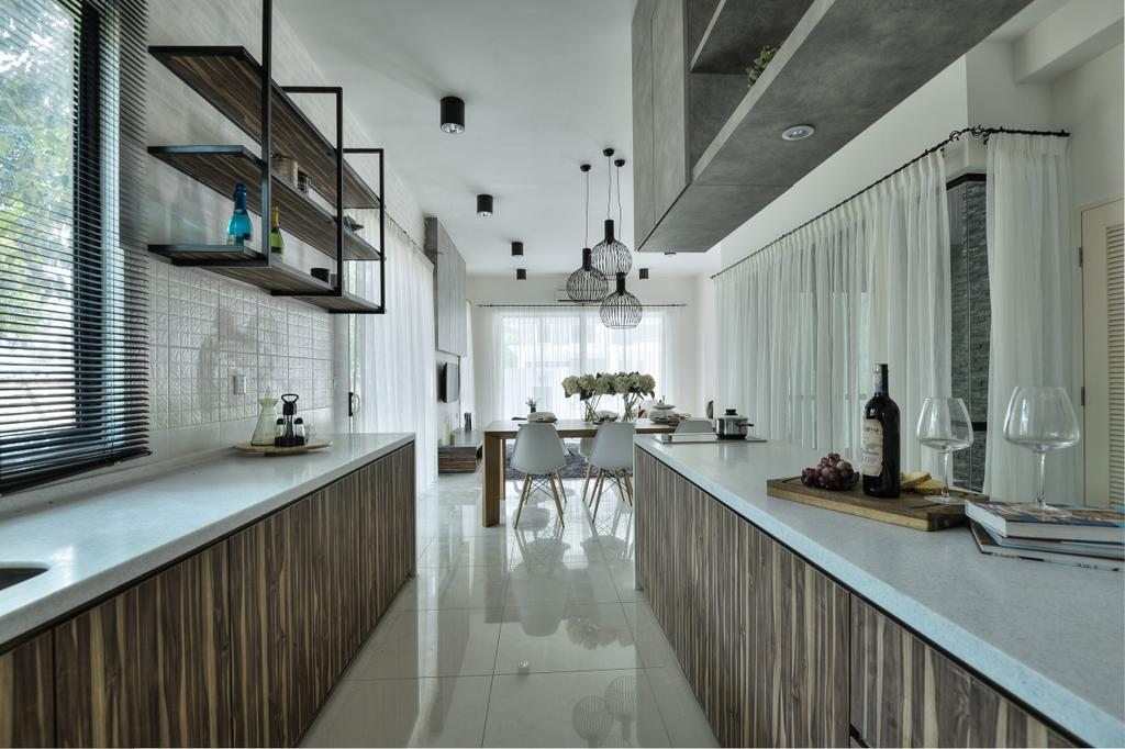 Modern, Landed, Kitchen, Hulu Langat, Interior Designer, SQFT Space Design Management, Contemporary, Glass, Flooring, Dining Table, Furniture, Table, Triangle