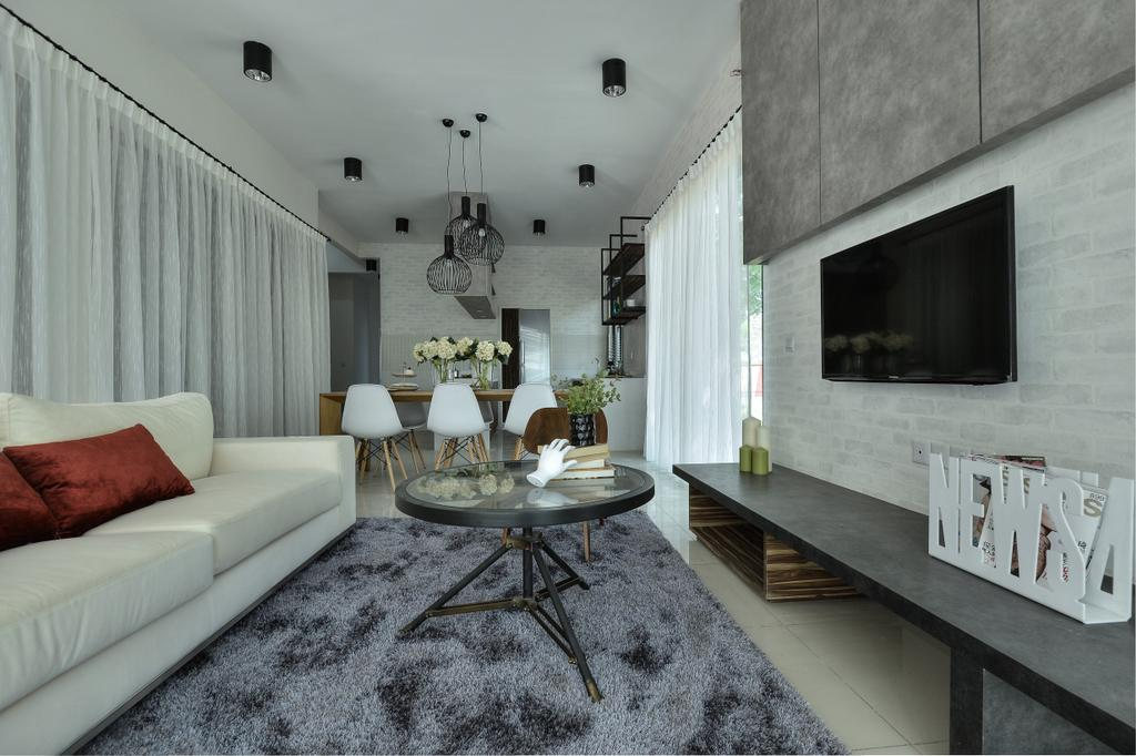 Modern, Landed, Living Room, Hulu Langat, Interior Designer, SQFT Space Design Management, Contemporary, Couch, Furniture, Fireplace, Hearth, Dining Room, Indoors, Interior Design, Room