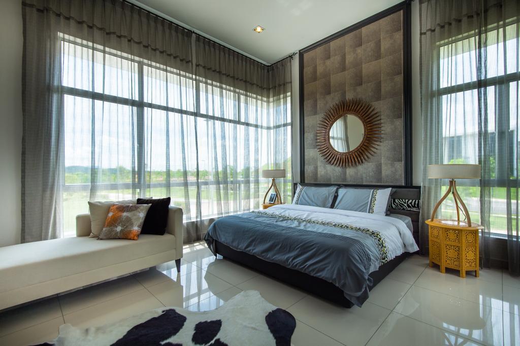 Modern, Landed, Bedroom, Semenyih, Interior Designer, SQFT Space Design Management, Contemporary, Couch, Furniture, Bed, Indoors, Interior Design, Room