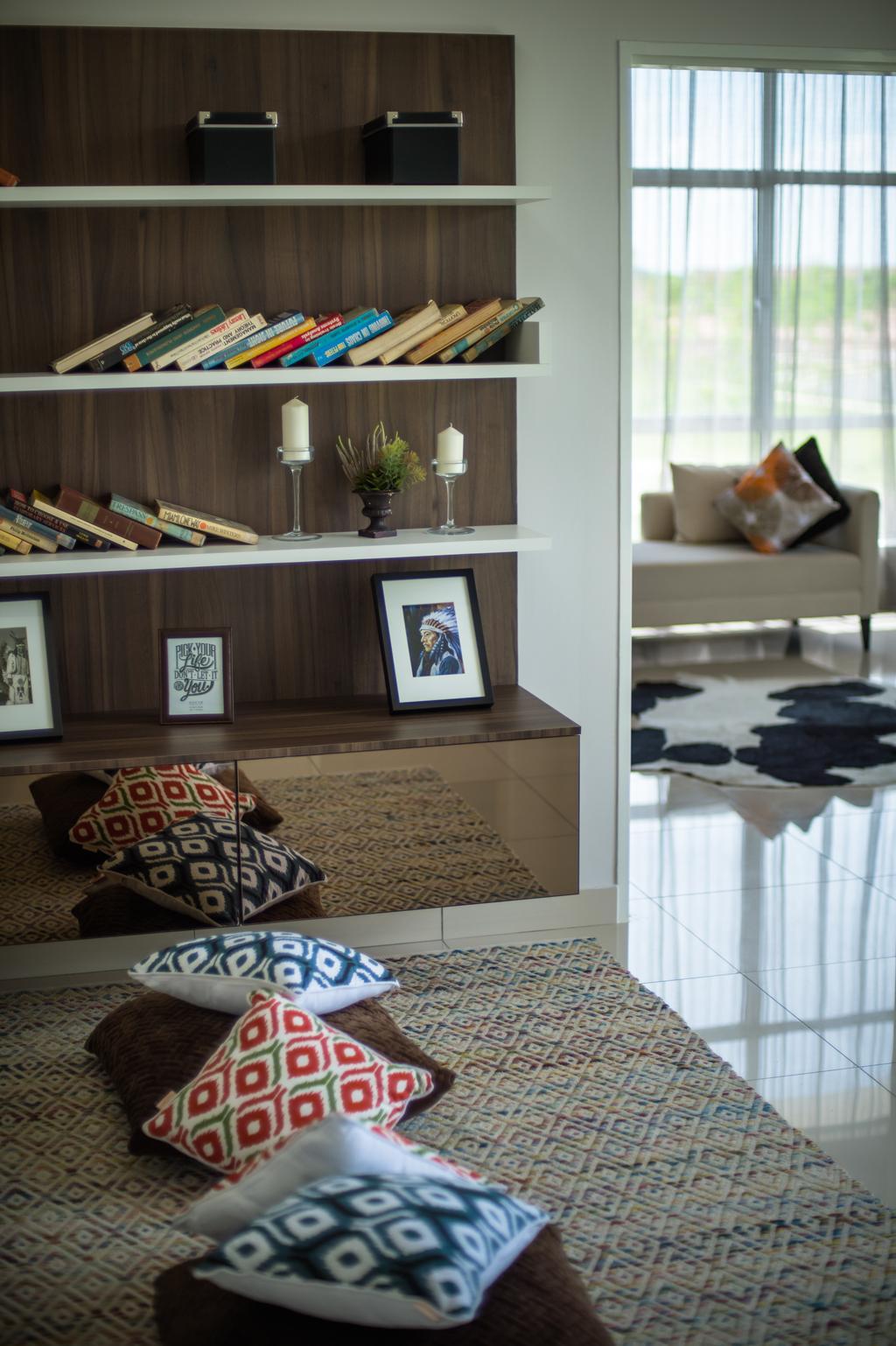 Modern, Landed, Living Room, Semenyih, Interior Designer, SQFT Space Design Management, Contemporary, Couch, Furniture, Indoors, Interior Design