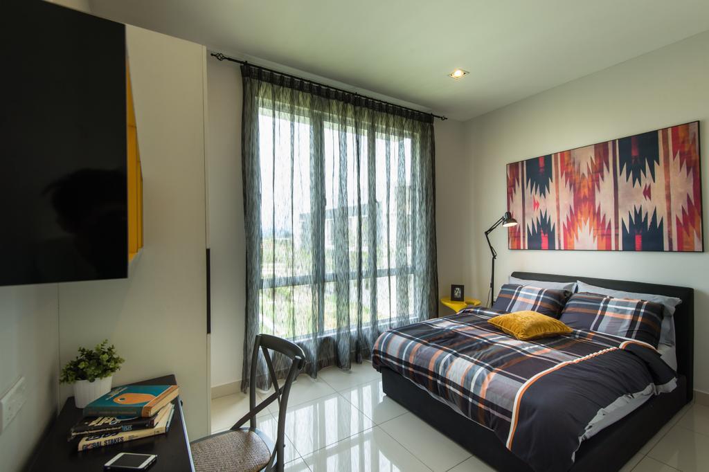 Modern, Landed, Bedroom, Semenyih, Interior Designer, SQFT Space Design Management, Contemporary, Indoors, Interior Design, Room, Bed, Furniture