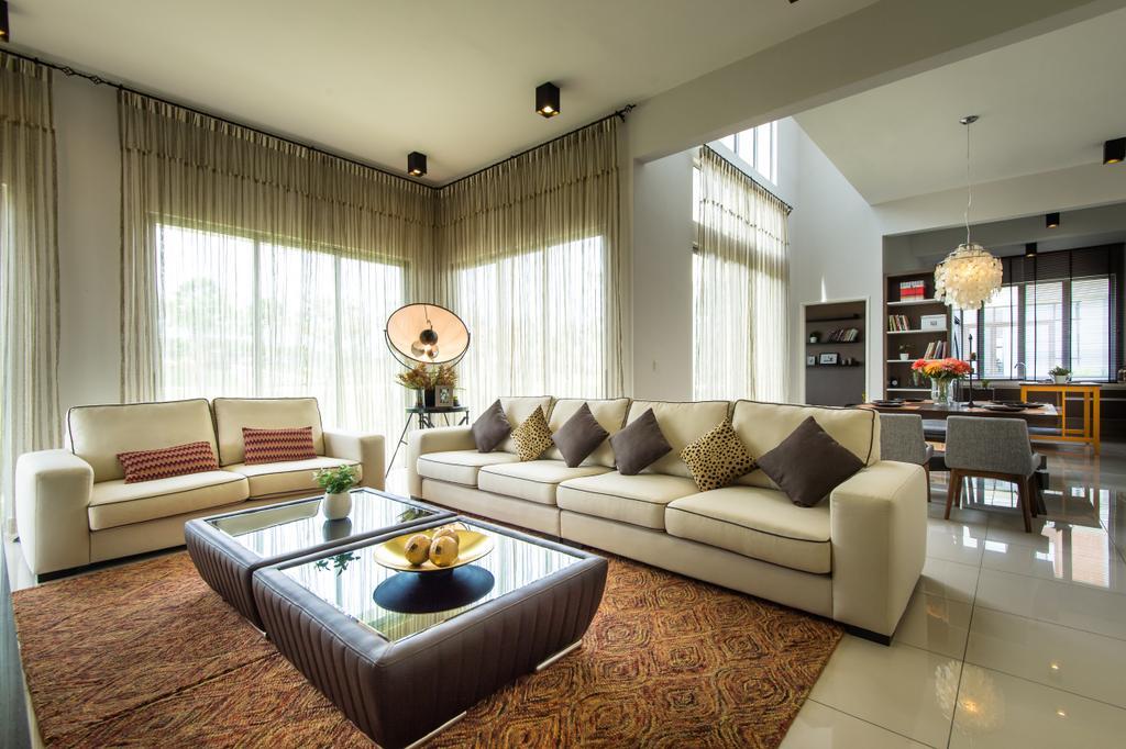 Modern, Landed, Living Room, Semenyih, Interior Designer, SQFT Space Design Management, Contemporary, Couch, Furniture, Indoors, Room, Interior Design