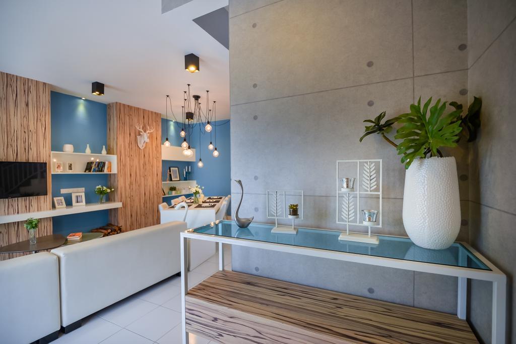 Eclectic, Landed, Living Room, Setia Ecohill, Semenyih, Interior Designer, SQFT Space Design Management, Sink, Indoors, Interior Design, Flora, Jar, Plant, Potted Plant, Pottery, Vase, Plywood, Wood