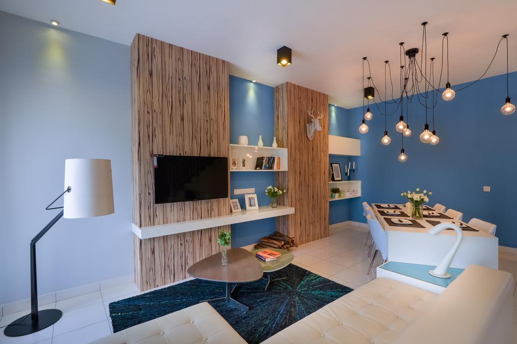 Eclectic, Landed, Living Room, Setia Ecohill, Semenyih, Interior Designer, SQFT Space Design Management, Indoors, Interior Design, Lamp, Lampshade