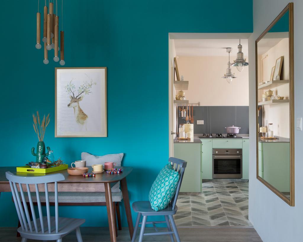 Scandinavian, HDB, Dining Room, Kim Tian Road (Block 126A), Interior Designer, Boon Siew D'sign, Chair, Furniture, Indoors, Interior Design, Room