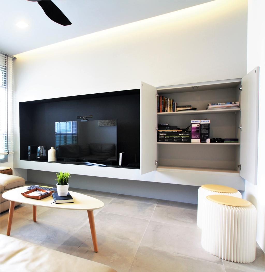 Modern, HDB, Choa Chu Kang, Interior Designer, Intrigue-d Design Consultancy, Furniture, Indoors, Interior Design, Dining Table, Table, Electronics, Entertainment Center
