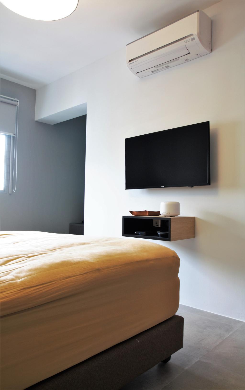 Modern, HDB, Choa Chu Kang, Interior Designer, Intrigue-d Design Consultancy, Electronics, Lcd Screen, Monitor, Screen, Bedroom, Indoors, Interior Design, Room, Building, Housing, Loft