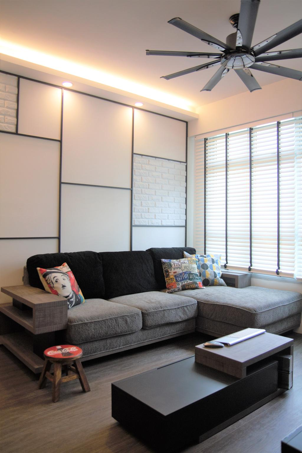 HDB, Punggol, Interior Designer, Intrigue-d Design Consultancy, Couch, Furniture