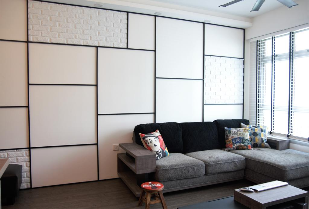 HDB, Punggol, Interior Designer, Intrigue-d Design Consultancy, Couch, Furniture, Fireplace, Hearth