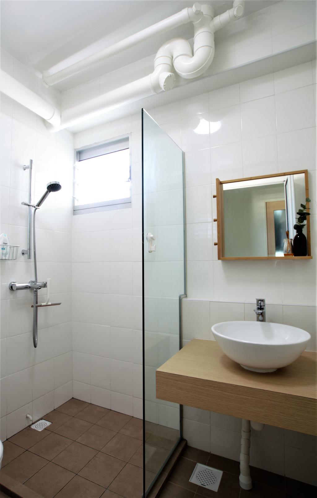 HDB, Telok Blangah, Interior Designer, Intrigue-d Design Consultancy, Door, Sliding Door, Bathroom, Indoors, Interior Design, Room