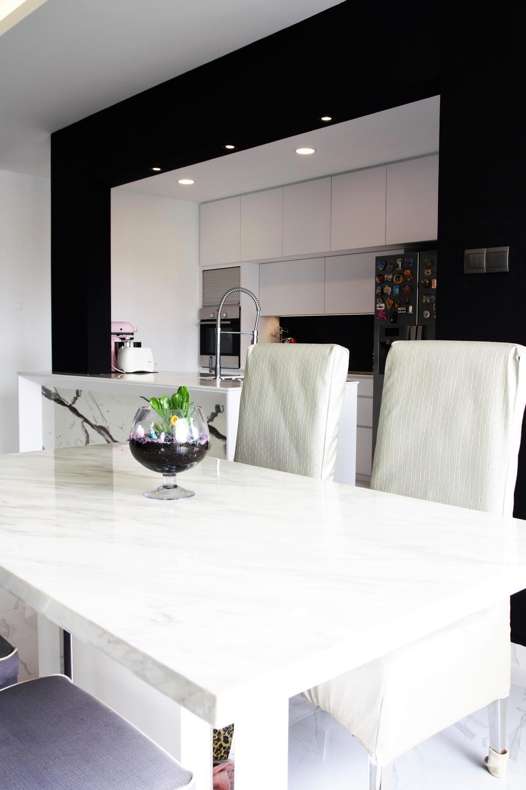 Landed, Bedok, Interior Designer, Intrigue-d Design Consultancy, Dining Table, Furniture, Table, Glass