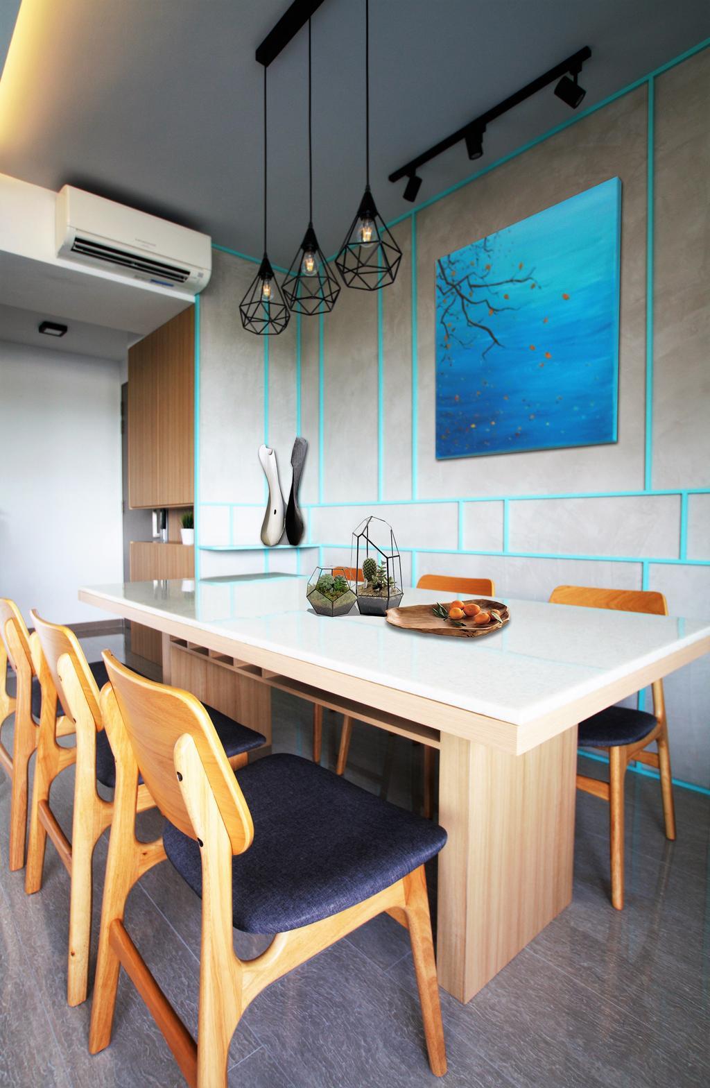 Condo, Punggol, Interior Designer, Intrigue-d Design Consultancy, Dining Table, Furniture, Table, Chair, Indoors, Interior Design, Dining Room, Room, Plywood, Wood