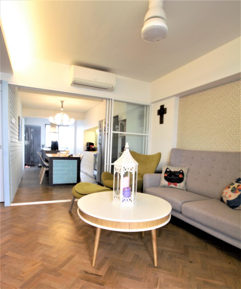 HDB, Marine Drive, Interior Designer, Intrigue-d Design Consultancy, Couch, Furniture, Dining Room, Indoors, Interior Design, Room, Flooring, Cushion, Home Decor