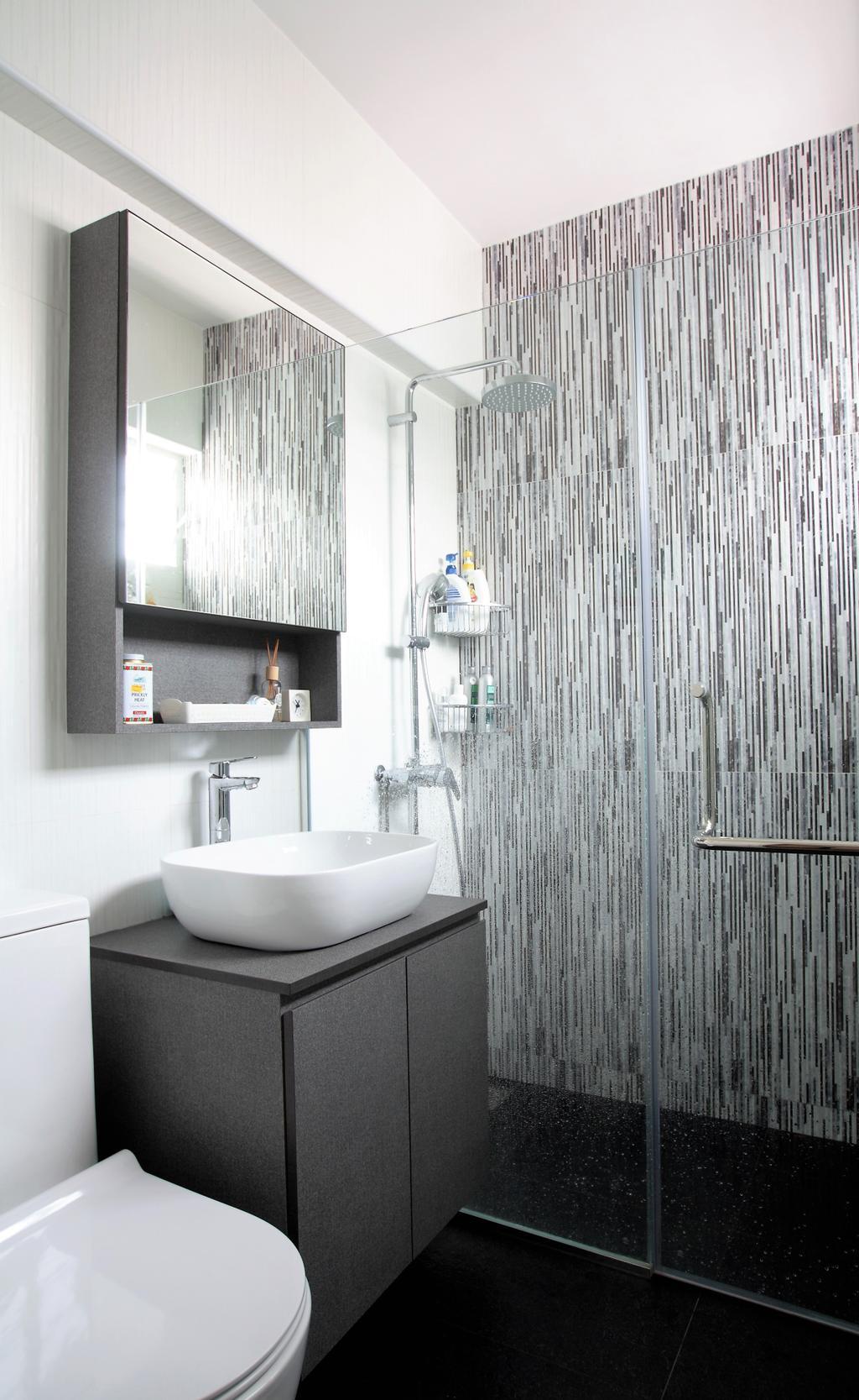 Scandinavian, HDB, Bukit Batok, Interior Designer, Intrigue-d Design Consultancy, Bathroom, Indoors, Interior Design, Room, Shelf