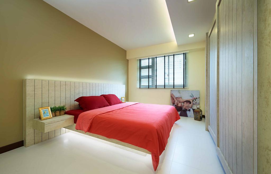 Scandinavian, HDB, Bedroom, Punggol Field, Interior Designer, Posh Living Interior Design, False Ceiling, Blind Curtain, Indoors, Interior Design, Room
