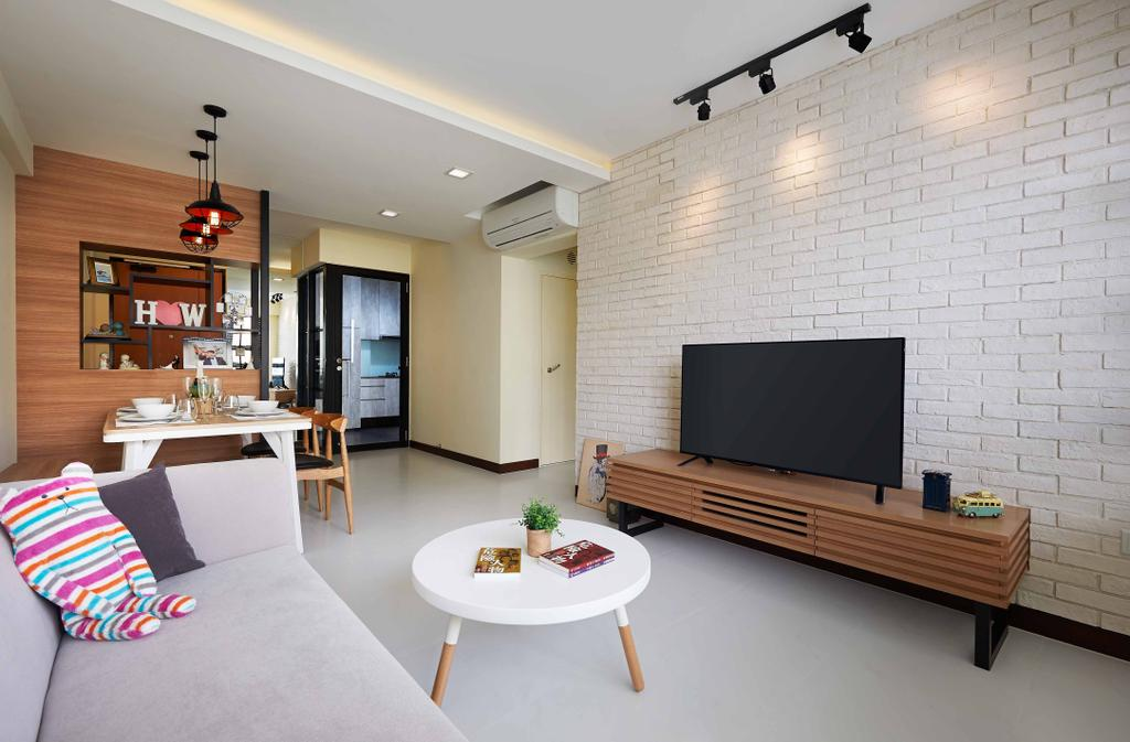 Scandinavian, HDB, Living Room, Punggol Field, Interior Designer, Posh Living Interior Design, Brick Wall, False Ceiling, Wooden Divider, Round Table, Tv Console, Coffee Table, Furniture, Table, Indoors, Room, Dining Table